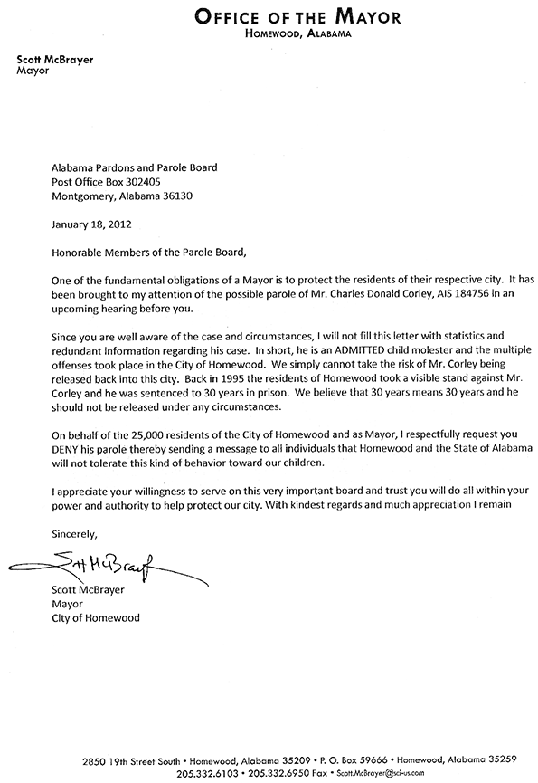 Mayor Scott McBrayer's Letter to the Parole Board