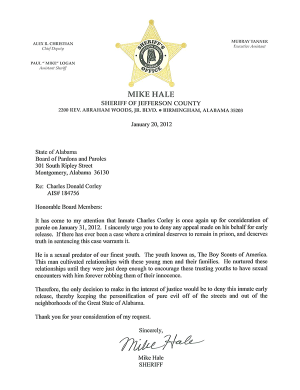Letter From Mike Hale, Jefferson County Sheriff
